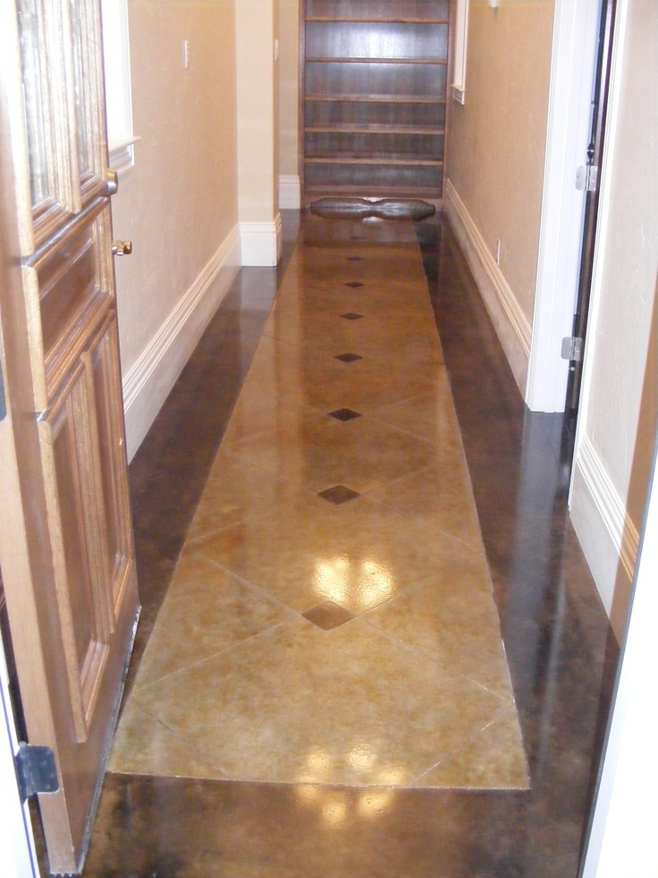 Stained And Scored Hallway Acid Stained Concrete