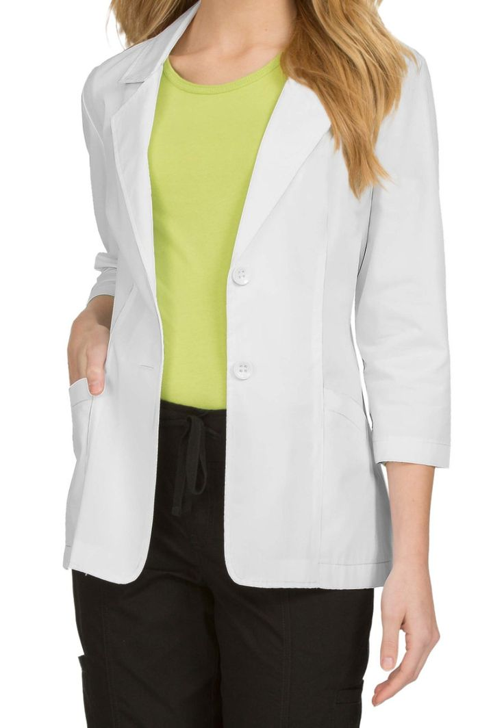 Med Couture Women's 28 Inch Lab Coats - White - 2X: The durable twobutton front lab coat from… #NursingScrubs #MedicalScrubs #DiscountScrubs
