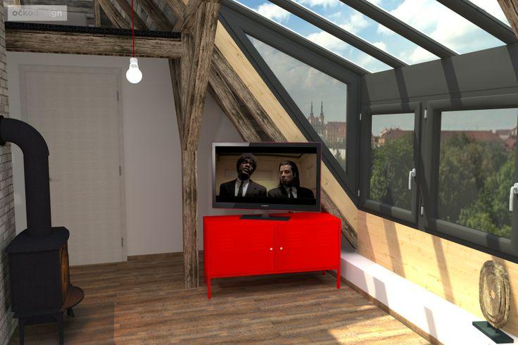 ...plechová skříňka pod televizí barevně koresponduje s kuchyní