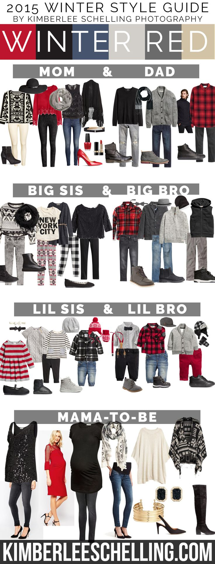 Family portrait outfits for 2015! What to wear for your family photos, including mom, dad, big sis & bro, little sis & bro, and also some maternity style outfit ideas! By Kimberlee Schelling Photography (Red, black, white, grey and cream color palete)