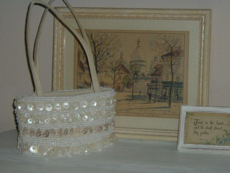 French watercolor and little shell covered beaded purse.