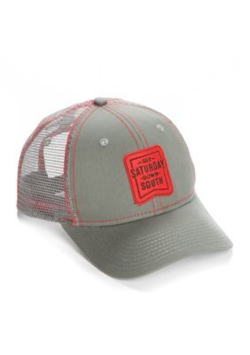 Saturday Down South Men's Georgia Patch Trucker Hat - Charcoal/ Red - One Size Fits All