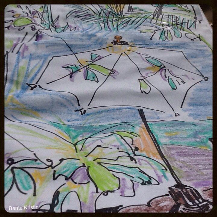 "Artist: Bente Kristin B Skulstad. 2014 ""Tropical heat"" Koh Tao, Thailand Tusj/ fargestifter Markers/ crayons"