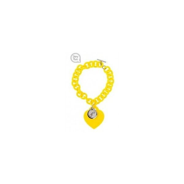 Bracciale giallo fluo Ops Love in resina con cuore in silicone... ❤ liked on Polyvore featuring tops and giallo