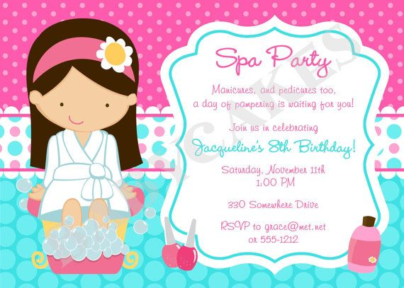 This listing is for a DIY print your own 5x7 invitation from our Spa Party party collection. Wording can be customized. We input your information and