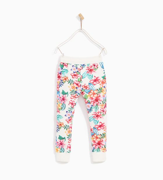 Image 5 of Floral jersey trousers from Zara