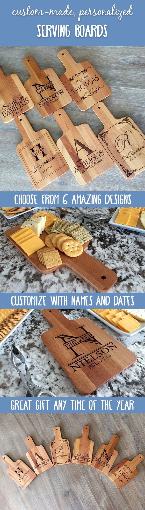 For a limited time, get HALF off your purchase! It's the perfect opportunity to order one for everyone you know. Choose from 6 beautiful designs and add your custom names and dates. They will look beautiful in your home whether on display or while in use. The serving boards each have a hole drilled through the end of the handle perfect for hanging in any location! They also make perfect gifts anytime of the year.