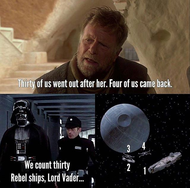 Whoever discovered this is a genius.<<< Though isn't technically 31 rebel ships since Han Solo cape in late?