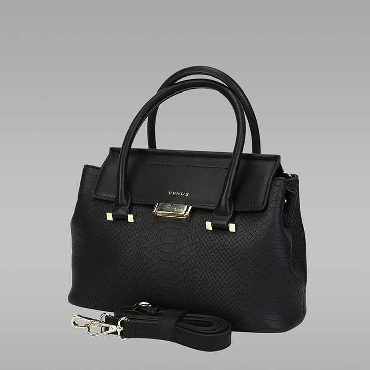 Black Colour PU Leather Handbag