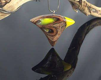 Special wood resin necklace/Banksia/yellow/besondere Holz Harz Halskette/gelb/Schlangenkette/christmas/Weihnachten/gift/Geschenkideen