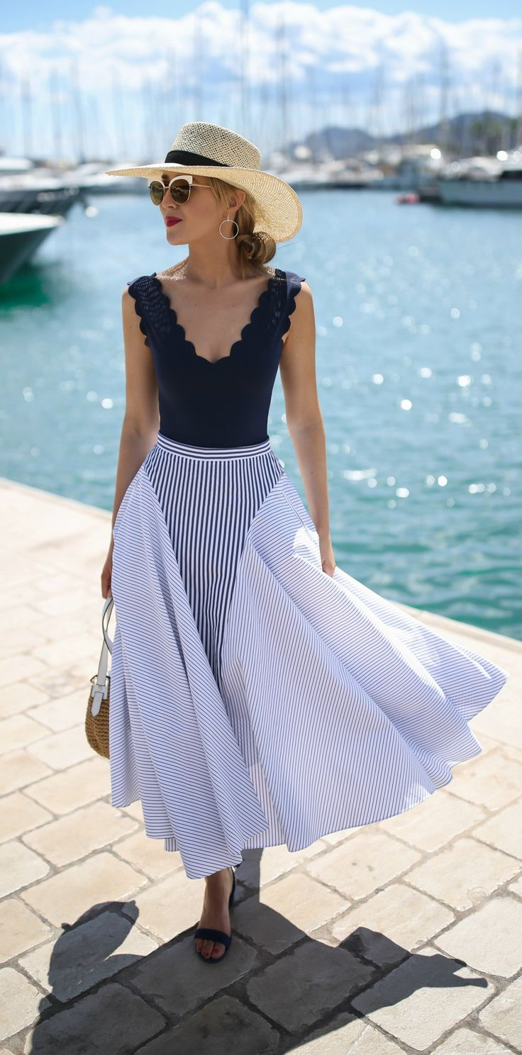 LOOKS FOR LESS: My Top 8 Most-Liked Looks, Recreated // Navy scalloped v-neck one piece swimsuit worn as bodysuit, navy and white mixed stripe midi skirt, classic straw wide brim sun hat, lace up ankle tie low block heel sandals {classic summer style, marysia swimwear, adam lippes, sjp collection, h&m}