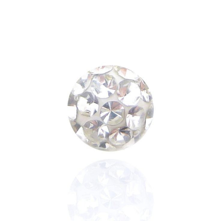 Boule de piercing vissable en cristal de Swarovski blanc