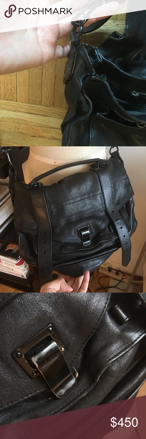 Black proenza schouler PS1 bag This bags been super loved so look through the pics for some wear and tear thus the low price. It's also missing the hanging hardware. This is the first edition where the hardware was black enamel. Dust bag included. Proenza Schouler Bags Shoulder Bags
