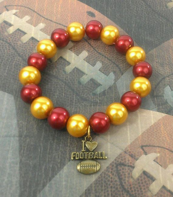 Football Bracelet Crimson Cardinal Garnet Red & by MyColorPearls, $10.00