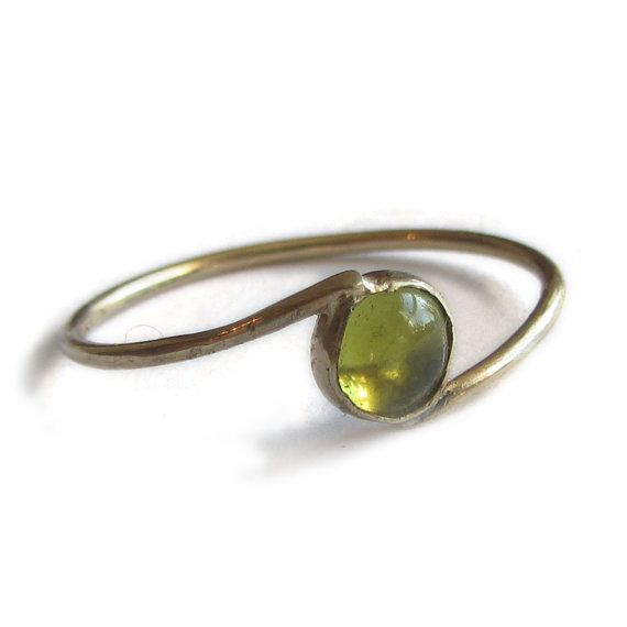 Thin Green Peridot Stacking Ring, 5 mm peridot cabochon ...