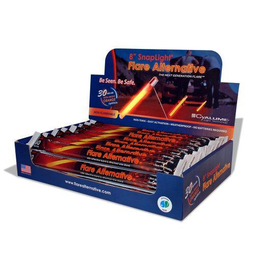 Cyalume SnapLight Industrial Grade Flare Alternative Chemical Light Sticks, Orange, Ultra-High Intensity, 8 Long, 30 Minute Duration (Pack of 24) SnapLight ultra-high intensity, flare alternative orange light stick for providing illumination for up to 30 minutes. Measures 8 long and provides 360 degrees of illumination. Meets Department of Transportation (DOT) non-hazardous standards. Chemilumin... #Cyalume #BISS