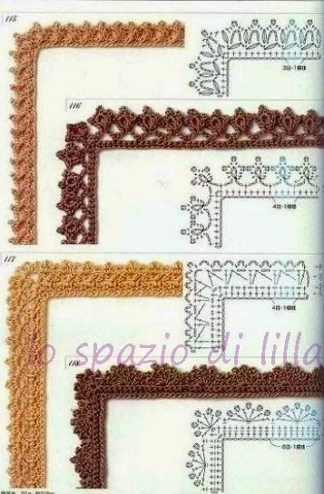 lo spazio di lilla: Schemi di bordi crochet con angoli, utili per copertine e tovagliette / Crochet edges with corner useful for baby blankets and placemats, free patterns