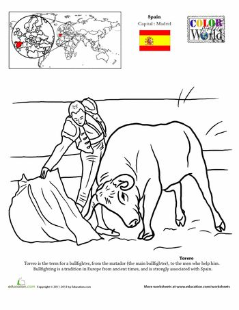 Worksheets: Color the World! Torero