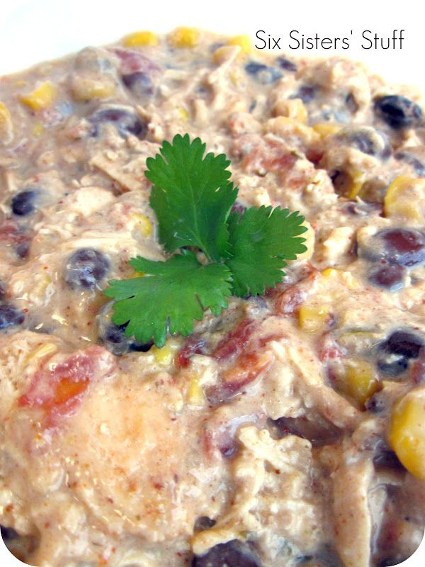 Slow Cooker Cream Cheese Chicken Chili.  SO easy and delicious!