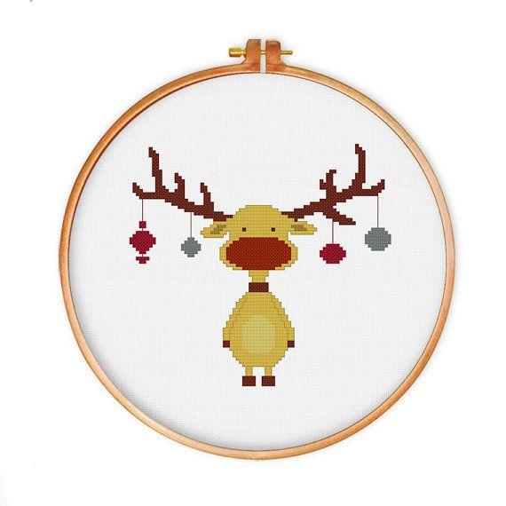 Retro Reindeer cross stitch pattern PATTERN SPECIFICATIONS: Skill level: beginners (full cross stitch, backstitch) Colors: DMC stranded cotton