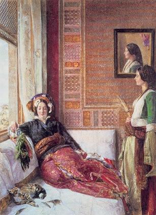 존 프레드릭 루이스, 콘스탄티노플의 하렘 생활, 1857    북아프리카와 이집트를 중심으로 중동지방을 묘사한 오리엔탈리스트의 루이스 작품  역사적인 큰 사건들과는 별개로 여행을 다니며 그들의 일상을 그림으로 옮겼다.   당시 콘스탄티노플 하렘의 주인으로 보이는 침대위의 여인은 마음대로 야외로 나갈 수 없는 상황에 처해있다고 한다. 옆에 서있는 여인은 가족인지 하녀인지는 알 수 없으나 옷차림으로 보아 가족이었을 확률이 크다고 생각한다.    거울을 통해서 같은 얼굴을 다른방향으로 두번이나 그렸는데 거울 오른쪽 위에 사람의 하체와 비슷한 상이 있다. 거울이 약간 기울어 졌다는 것을 알 수 있고 이는 아마 화가 자신을 그려넣은 것이라 생각한다.    오랜기간동안 이집트에 머물며 일상을 그린 오리엔탈리스트 존 프레드릭 루이스는 그들의 일상을 통해서 더욱 자유로운 기분을 느꼈을 것 같다.