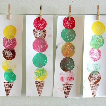 Ice Cream Art – An Easy Printmaking Project for Kids