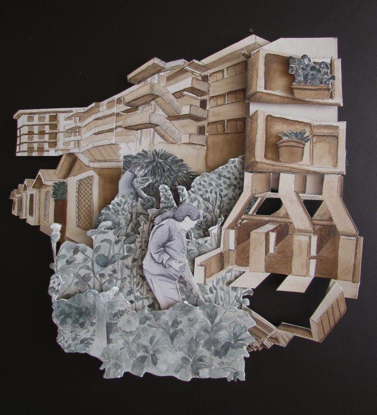 Tatebanko Arquitectura + Organico - Social 40x40 cm aprox. Técnica: Tinta china + nogalina y lápiz tinta sobre papel Fabriano.  TAP II -  Artes Visuales / UdeC Segundo semestre 2015