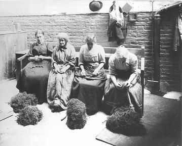 Women in Work House picking oakum. The Work Houses signified the end of the line. It was either prostitution or the Work House, sometimes both. Biddy Craft