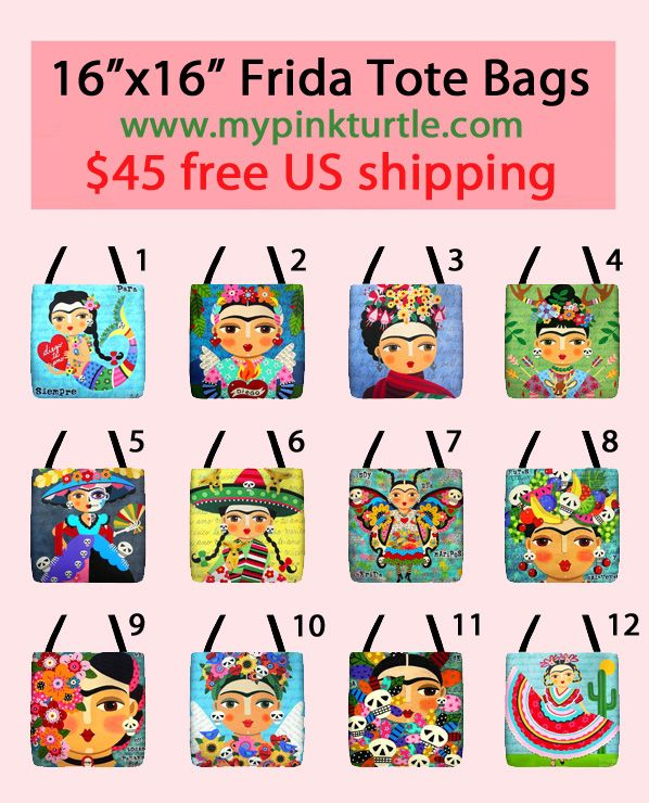 NEW in Mypinkturtle SHOP ! 12 different styles of FRIDA tote bags !  Angel, mermaid, chihuahuas, day of the dead, butterfly FREE shipping to the US ! Limited time OFFER ! www.mypinkturtle.com/category/tote-bags