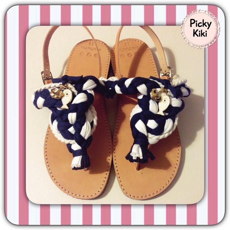 Handmade sandals from genuine leather with cotton cords plaited in nautical knot, with a peephole - fish and an anchor in gold color | Picky Kiki Accessories