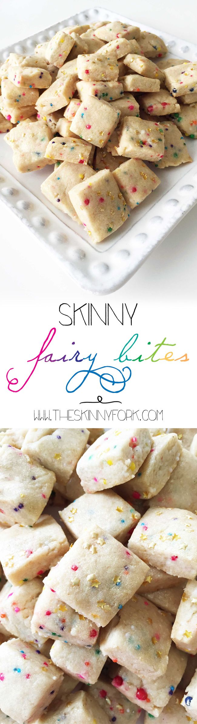 Skinny Fairy Bites - Delicious little bites of short bread with rainbow sprinkles and pixie dust sparkle! TheSkinnyFork.com