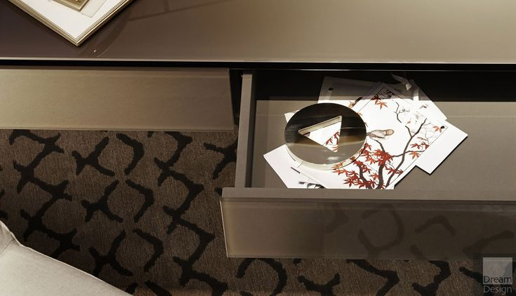 Gallotti & Radice Venere Dressing Table - Venere, designed by Carlo Colombo for Gallotti & Radice in 2013. Venere is a wooden vanity desk covered by glass, featuring a rotating double face mirror. Interior Design