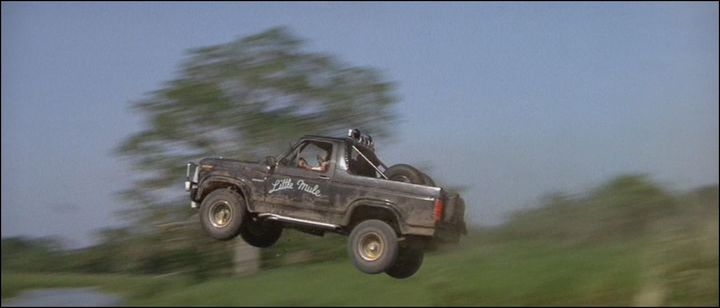 "In 1984's Romancing the Stone, the 1982 Ford Bronco XLT named ""Pepe, The Little Mule"" holds the title for the most memorable car name of all time.: Mule, 1982 Ford, Tvmovi Cars, Romances The Stones, Ford Broncos, Custom 1982, Broncos Xlt, Famous Wheels, Movie Cars"