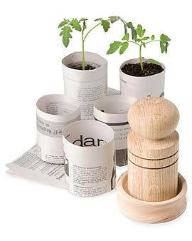 Here's a video that teaches how to create a newspaper seedling pot without the special tool.  http://www.ehow.com/video_1745_create-seed-starting.html
