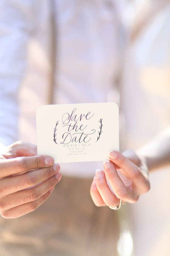 Custom Calligraphy Save the Date Stamp 3 x 2.5 for by RachelCarl
