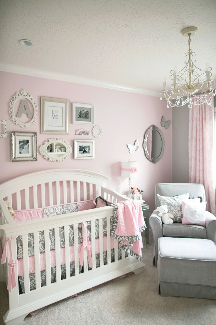 Baby room decorations - Soft And Elegant Gray And Pink Nursery