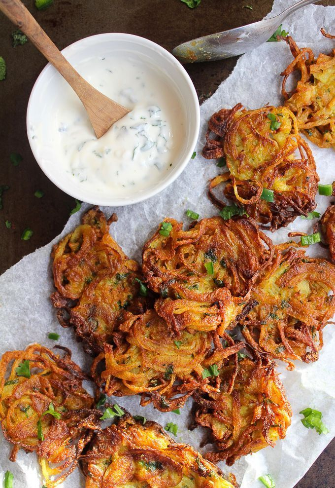 Crispy Onion Bhajis make the perfect naturally gluten free and vegan snack or starter. Light, crispy, and completely moreish! #glutenfree #vegan