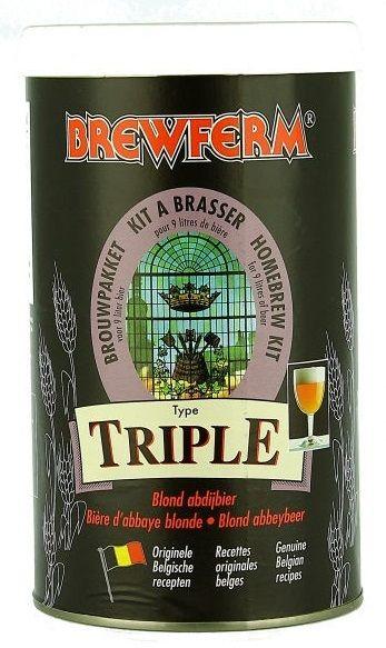 Brewferm Triple 9L  O bere de manastire aurie! Delicata, dar foarte puternica. Gust puternic de malt, usor condimentata, mult hamei.   Densitatea initiala 1075 ABV : 8% Pentru 9 litri.