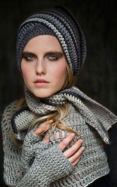 "Novita - free patterns (Finnish) Crochet neck warmer, fingerless mittens and a scarf, ""Minna"""