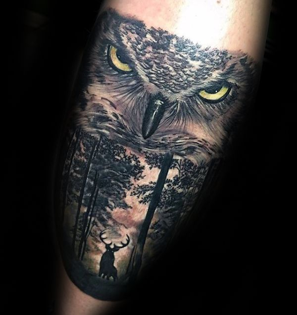 Owl With Deer Guys Forest Tattoo Ideas