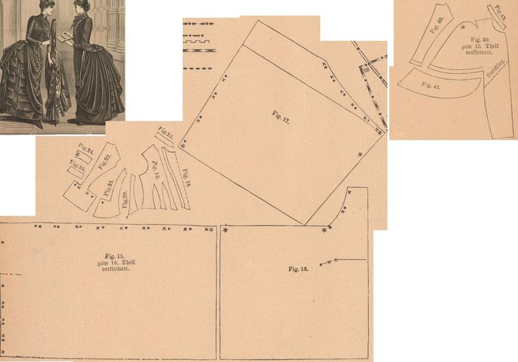 Der Bazar 1886: Black satin-merveilleux dress for confirmands with mantelet from black diagonal fabric with silk edging and silk lining ; 15. front drapery part, 16. and 17. back drapery parts, 18. plastron in half size, 19. bodice front part, 20. and 21. side gores, 22. back part, 23. collar in half size, 24. and 25. cuff parts in half sizes; 39. front part, 40. back part, 41. peplum in half size, 42. collar in half size