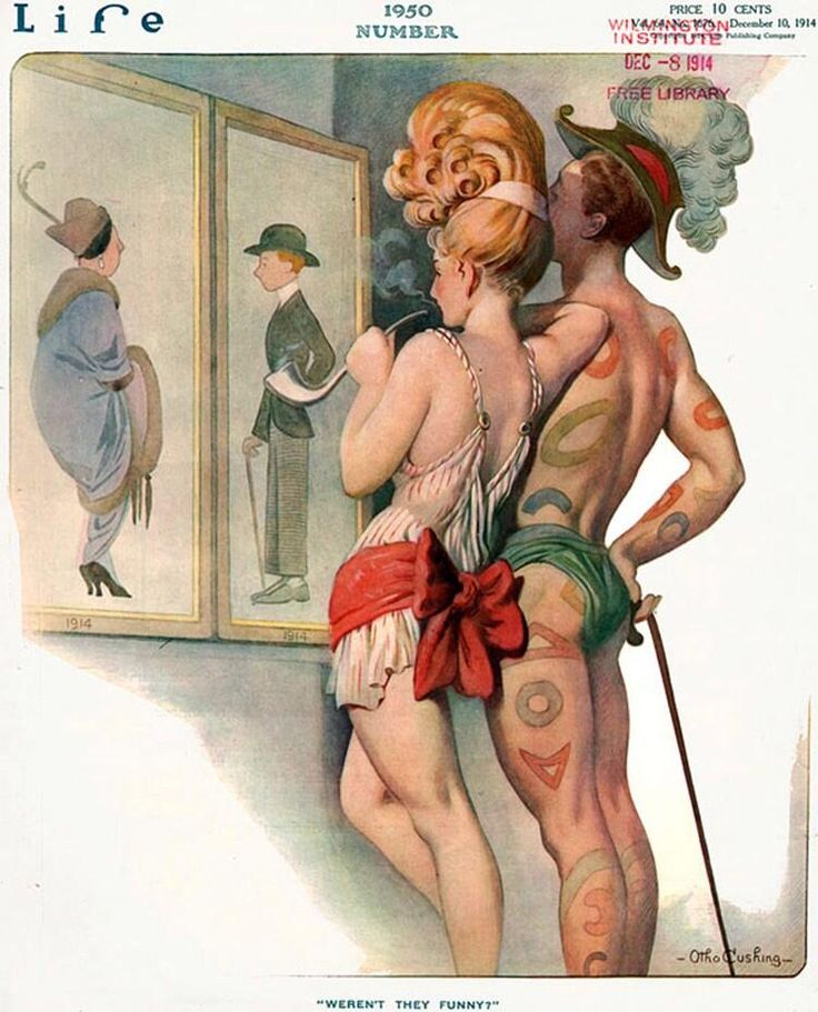 This is great. 1914 artist imagines 1950s fashions. I want hair like that. Also, he keeps a cane...