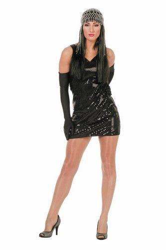 2d3e181576ffe2 Disco jurk zwart is een eenvoudige paillettenjurk
