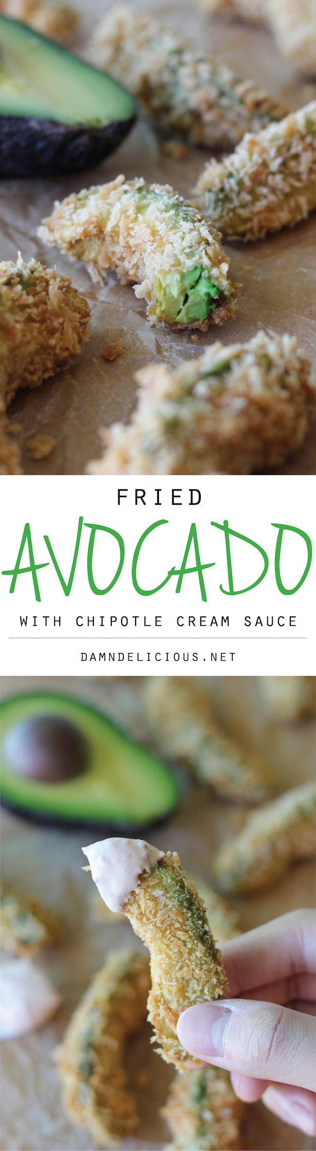 Fried Avocado with Chipotle Cream Sauce - The only way to eat an avocado is when they're deep fried in a Panko crust and dipped in a chipotle cream sauce!