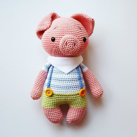 """Amigurumi crochet instrucciones """"Freddy el cerdo"""" PDF (Alemán + Inglés!)"""