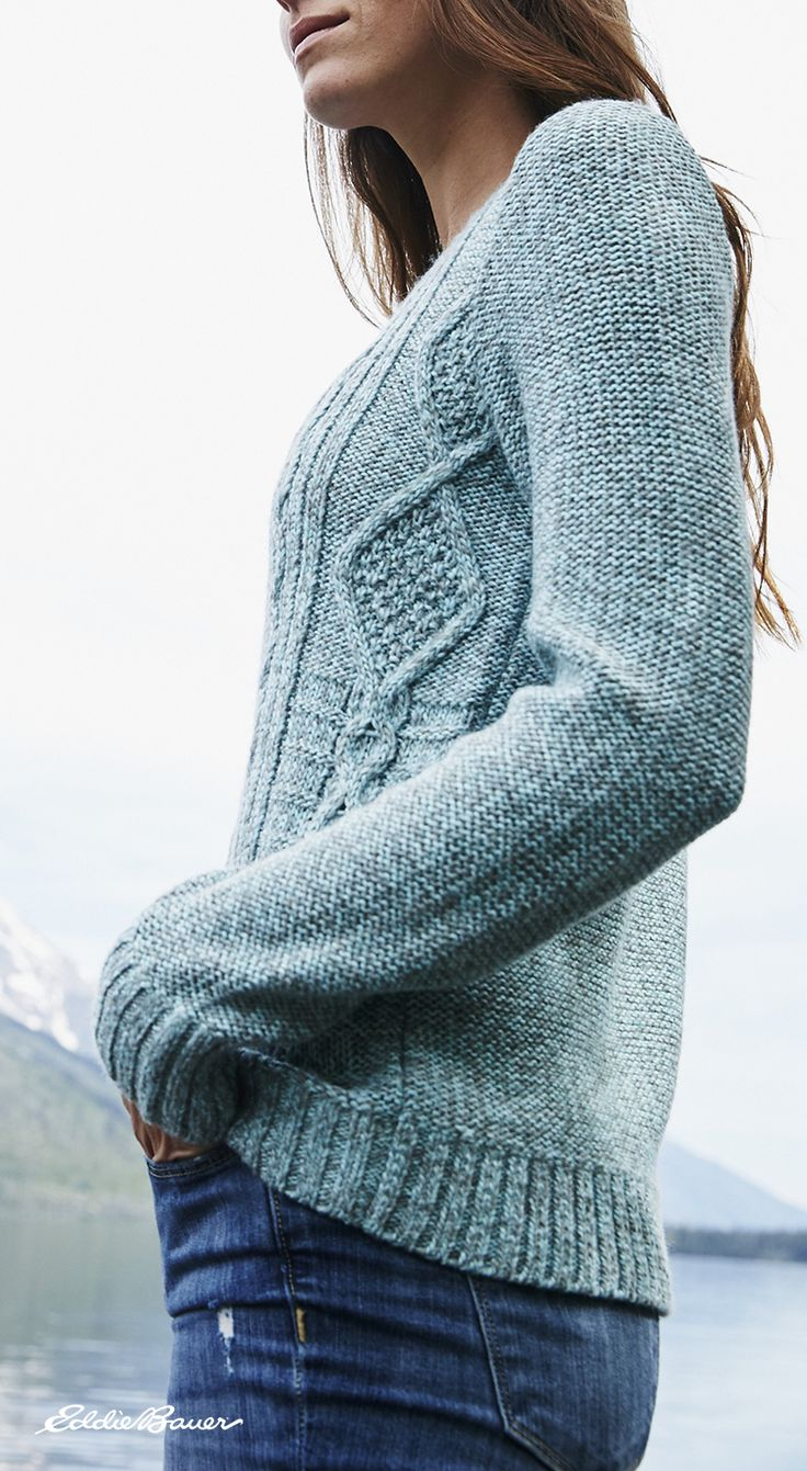 Cable Pullover Sweater | Richly marled yarns of soft acrylic/wool. The striking patterns and sumptuous texture of classic cable.