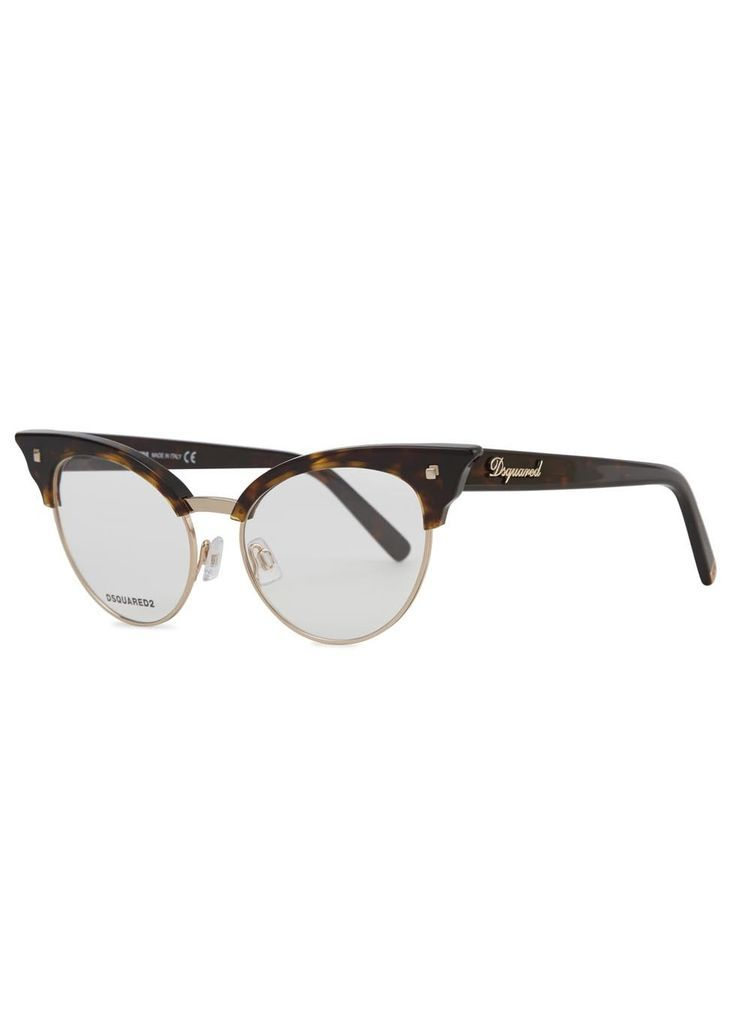 Exclusive to Harvey Nichols Dsquared tortoiseshell cat eye glasses Designer stamped lens, rose gold