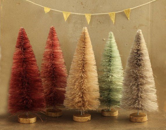 Bottle Brush Trees 6 Inch Dyed Rose Gold Forest 5 Vintage Style Putz Village Bottle B Bottle Brush Christmas Trees Bottle Brush Trees Dollhouse Miniatures
