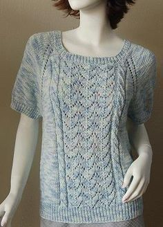 Bamboozle Raglan Short Sleeve   with Lace and Cable front panel   (This is a Knit from Top Down Sweater)