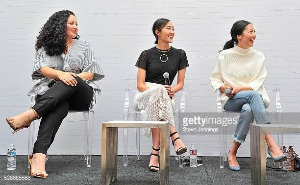 Bloggers Tanesha Awasthi Chriselle Lim and Anh Sundstrom attend the Westfield x Who What Wear Presents Boss Notes at Westfield Valley Fair event at...